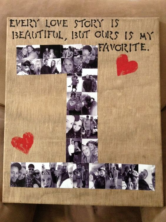 Number Photo Collage | Easy DIY Anniversary Gift Ideas for Him | Handmade Valentines Day Gifts for Him: