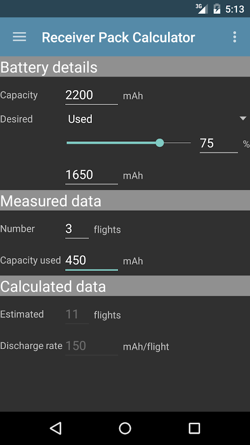 R/C-Flight Calculators- screenshot