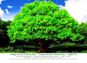 Photo: Happy Senior Citizens Day ~ National Senior Citizens Day ~ August 21  The Way of the Righteous ''…He is like a tree planted by streams of water…'' Psalm 1:2-3 ESV.  His delight is in the law of the Lord, and on his law he meditates day and night.  He is like a tree planted by streams of water that yields its fruit in its season, and its leaf does not wither. In all that he does, he prospers.  Psalm 1 ESV; https://www.biblegateway.com/passage/?search=Psalm+1&version=ESV  Psalm 1 ESV: Audio; https://www.biblegateway.com/audio/mclean/esv/Ps.1  Message Psalm 1 ESV; https://sites.google.com/site/biblicalinspiration1/biblical-inspiration-1-series-celebrating-the-word-of-god-2014---celebrating-the-joy-of-changed-lives-what-do-these-stones-mean-the-moody-church