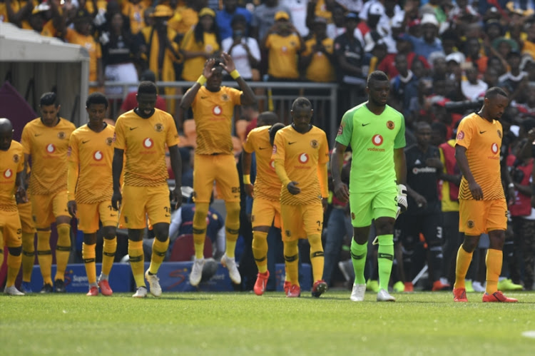 Soweto derby debutant and Kaizer Chiefs goalkeeper Daniel Akpeyi leads out his teammates ahead of the Absa Premiership showdown against bitter rivals Orlando Pirates at FNB Stadium on February 09, 2019.