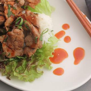 Korean-style Pork Wraps With Chili Sauce.