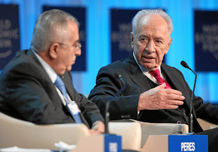 Photo: DAVOS/SWITZERLAND, 26JAN12 - Salam Fayyad (L), Prime Minister of the Palestinian Authority and Shimon Peres, President of Israel are captured during the session 'Special Conversation: Prospects for Peace in the New Middle East Context' at the Annual Meeting 2012 of the World Economic Forum at the congress centre in Davos, Switzerland, January 26, 2012.Copyright by World Economic Forumswiss-image.ch/Photo by Remy Steinegger
