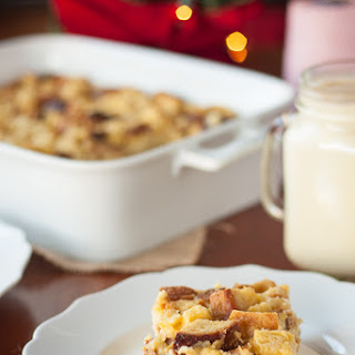 Gluten Free Eggnog Bread Pudding with Bourbon Caramel Sauce