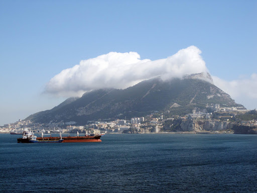 The Rock of Gibraltar as seen from an approaching cruise ship.