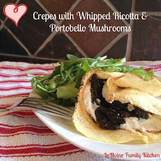 Crepes with Whipped Ricotta & Portobello Mushrooms.