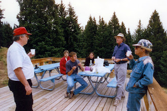 Photo: All of us (Bizaises, Battles, and Hansons) on the deck on top of the ski hill, 1996  KMH