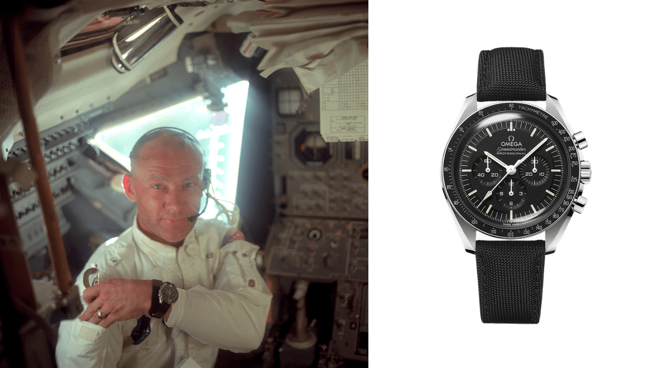 Buzz Aldrin wearing a Omega Speedmaster Pro Moonwatch, and photo of the Omega Moonwatch