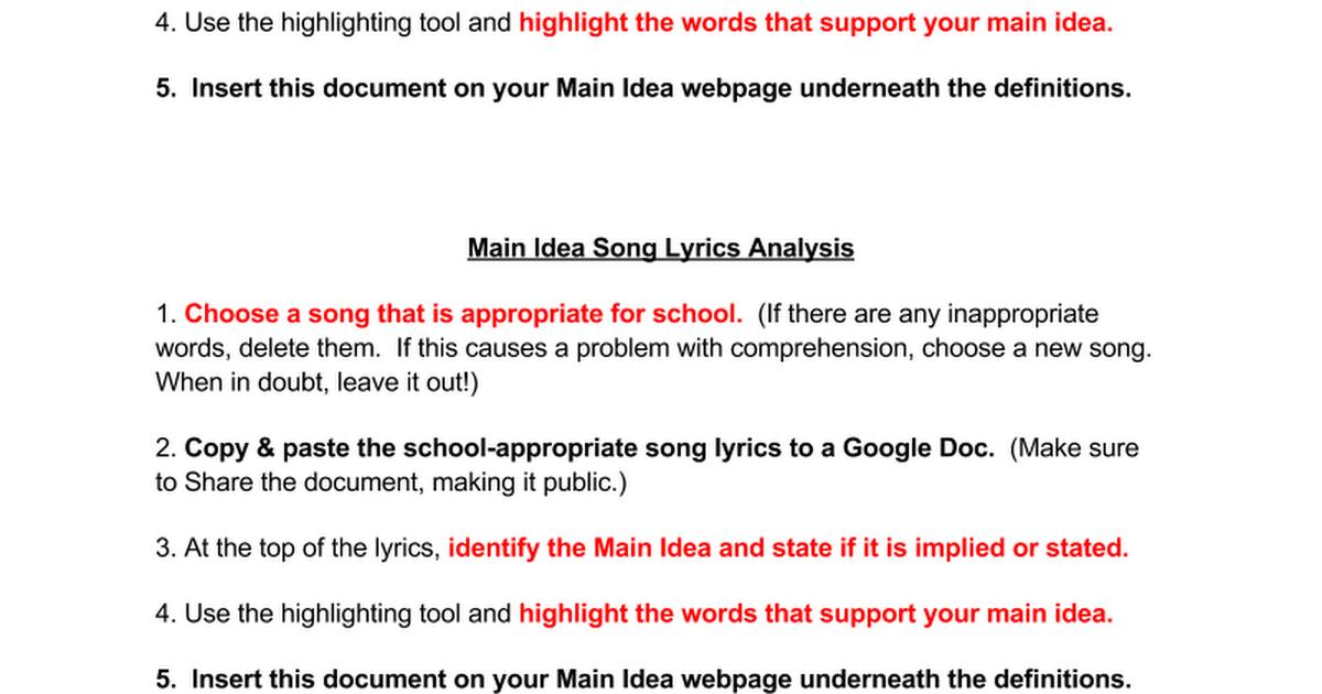Lyric new song lyrics : Main Idea Song Lyrics Analysis - Google Docs