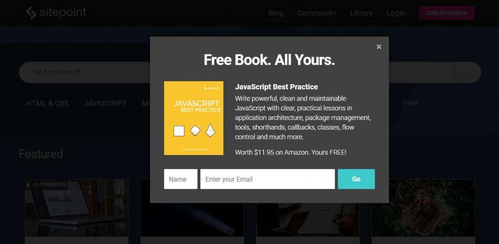 exemplo de popup oferecendo ebook grátis