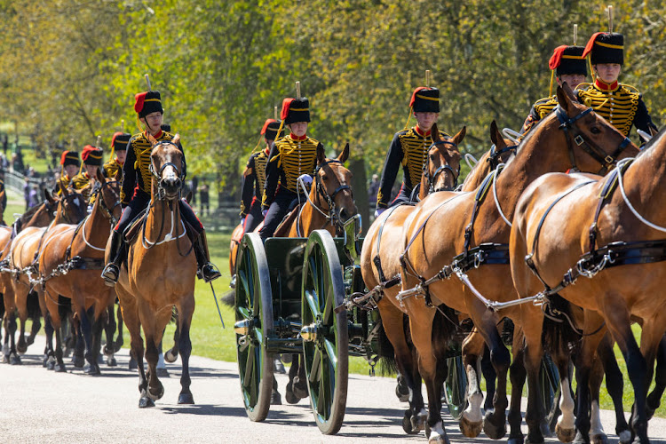 The King's Troop Royal Horse Artillery arrive at Windsor Castle in preparation for the Gun Salute on the palace grounds on the day of the funeral of Prince Philip.