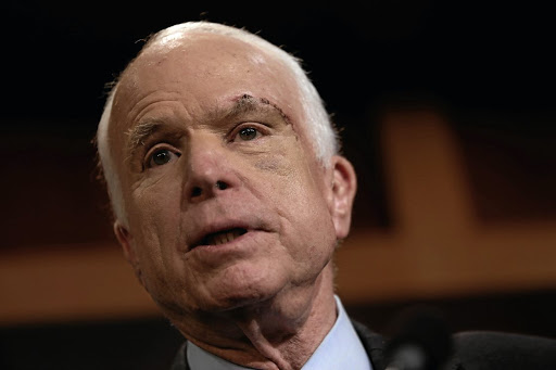"Senator John McCain speaks at a press conference about his resistance to the so-called ""skinny"" repeal of the Affordable Care Act, on Capitol Hill in Washington on July 27 2017. Picture: REUTERS"