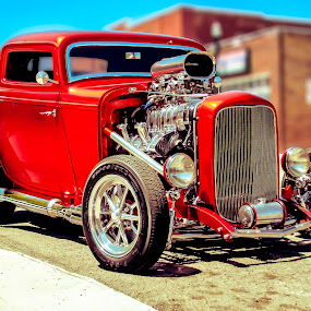 Red and Hot by Boyd Smith - Transportation Automobiles ( three window coup, ford, hot rod, custom car )