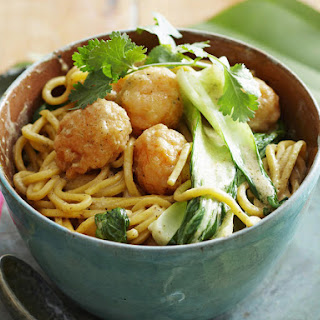 Coconut Noodles with Prawn Balls.