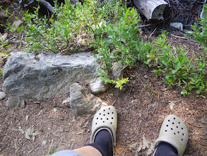Photo: Blisters already, so it's Crocs for the rest of the trip.