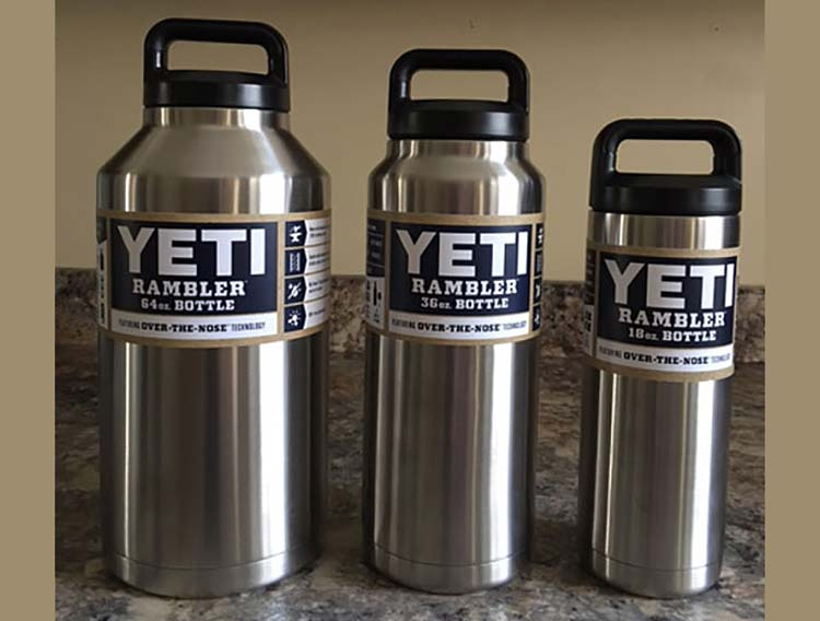 Yeti Rambler bottles in durable stainless steel come in 64, 36 and 18 ounce sizes.