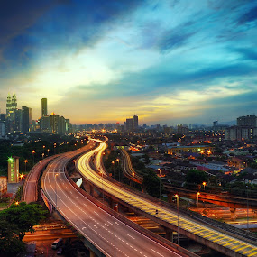 Kuala Lumpur Late Evening by Fadly Hj Halim - City,  Street & Park  Vistas ( light trail, sunset, night, evening, kuala lumpur, slow shutter )