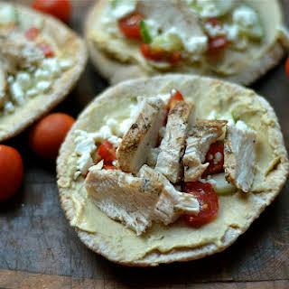 Mediterranean Chicken Pita Pizzas.