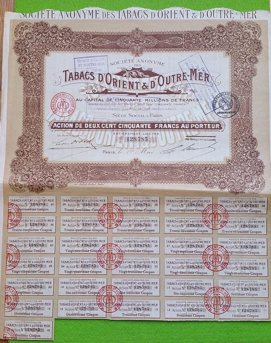 Aktie - 1. Mai 1920 - Société Anonyme des Tabacs d'Orient & d'Outre-Mer