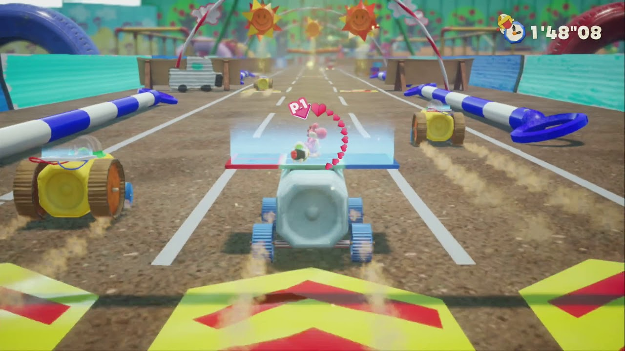 Yoshi in a cart on a dirt path.