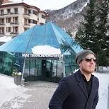 Hugo visiting Matterhorn Museum in Switzerland in Zermatt, Valais, Switzerland