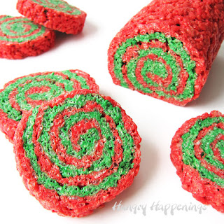 Red and Green Rice Krispies® Treat Christmas Pinwheels.