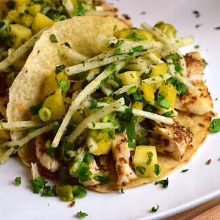 Fish Tacos with Pineapple Jicama Slaw.