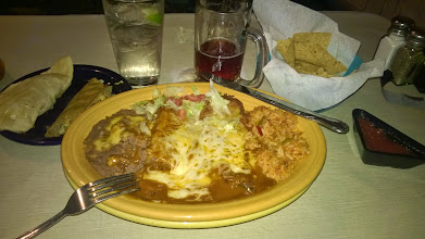 """Photo: August 9-Things seem to close up REAL early along the Mother Road.  As in, I finally found a place called the Pow-Wow that served """"Late Night"""".  It was 9pm."""