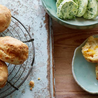 Cheese Scones With Chive Butter.