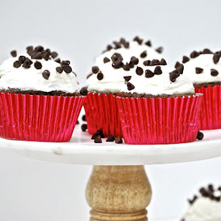 Chocolate Cupcakes with Marshmallow Buttercream Frosting.