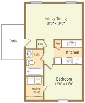 Go to One Bed, One Bath A Spicewood Floorplan page.