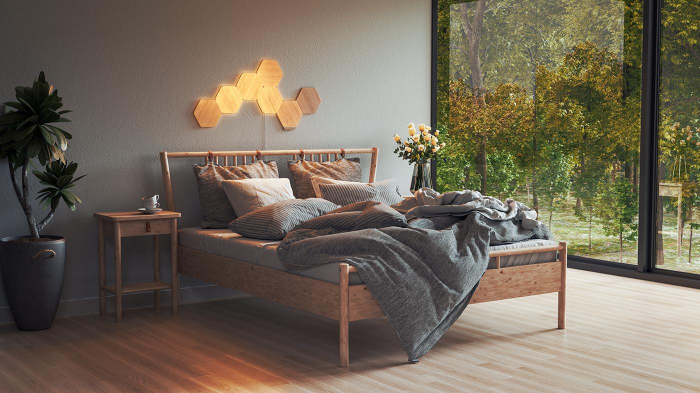 Bedroom Natural Light Alarm with Nanoleaf Elements Wood Look Hexagon Smart Light Panels for better sleep