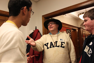 Photo: James Lockman, 1989 Drum Major, gives Andi some tips.