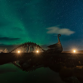 Drakkar by Eik Kristensen - Buildings & Architecture Statues & Monuments ( aurora borealis, night, nightscape, stars, night photography )