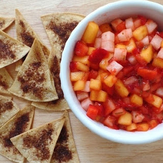 Strawberry Salsa with Toaster Oven Cinnamon Chips