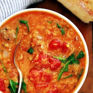 Slow Cooker Sausage Lentil and Arugula Soup