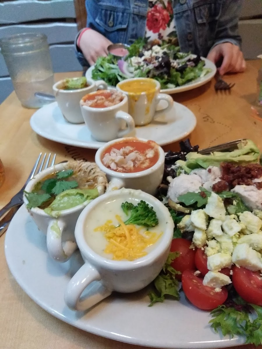 Soup samplers and salads