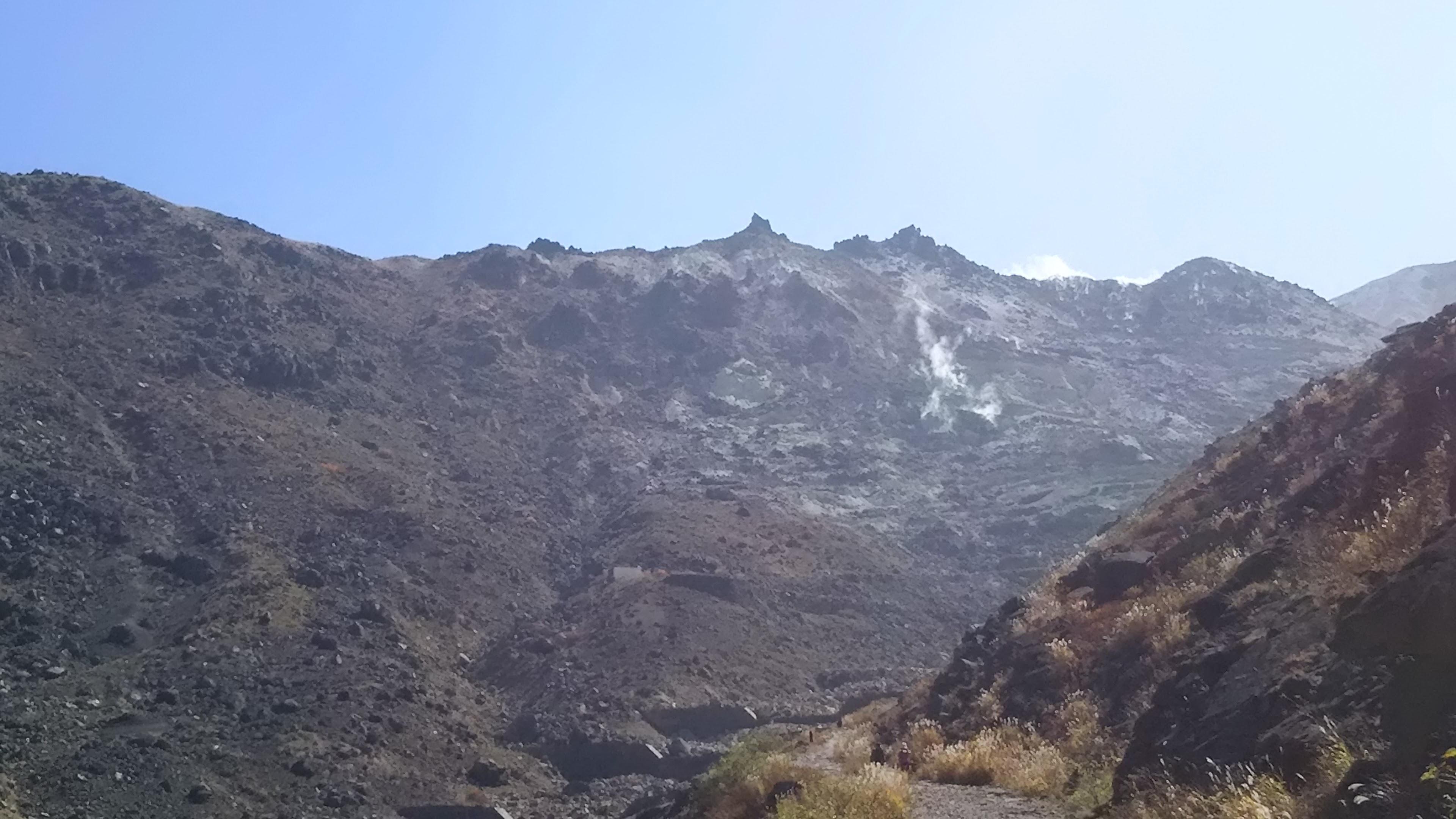 硫黄岳西斜面の噴気