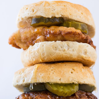 Fried Chicken Biscuits with Honey.