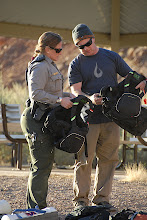 Photo: Ranger Peggy checking out our gear