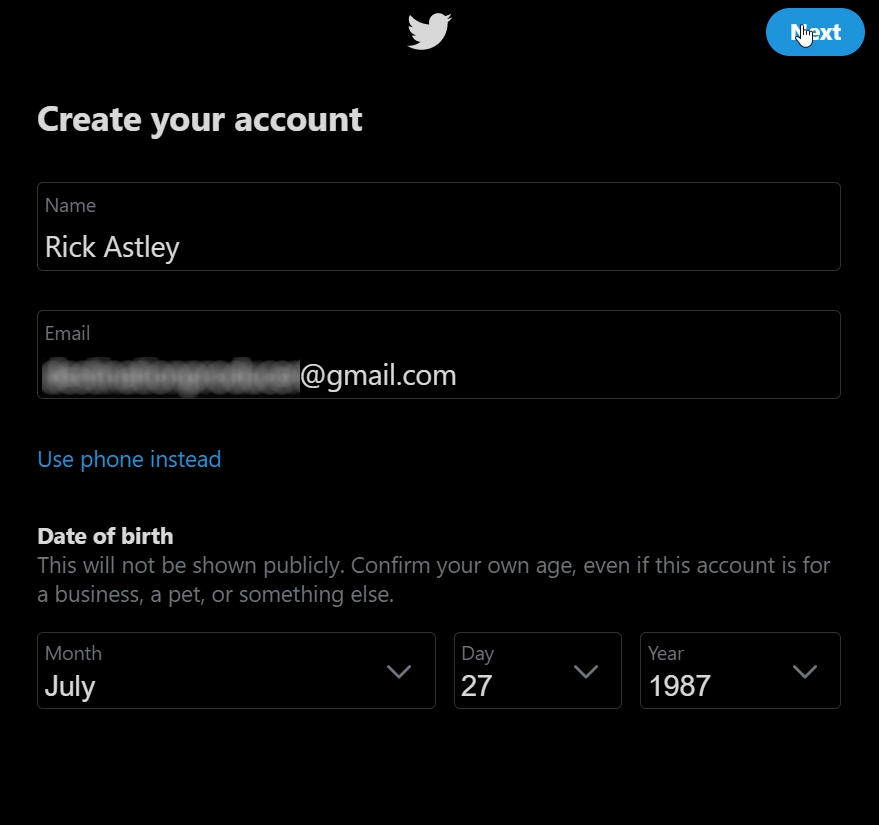 Twitter account creation