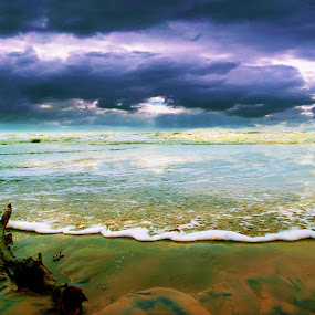 by Sudipto Ghosh - Landscapes Beaches ( water, blue, waves, sea, ruins, beach, boat, landscape )