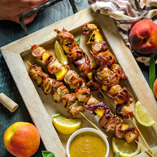 Grilled Chicken & Peach Saltimbocca Skewers.