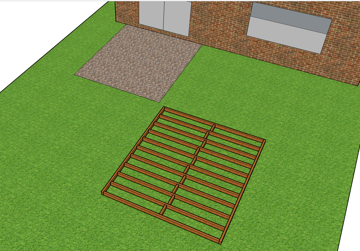 Building a decking frame ready to place on the soil base
