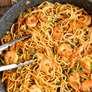 Low Syn Sweet Chilli Prawns and Noodles.