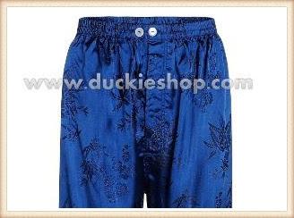 กางเกงใส่นอน ชุดนอนผู้ชายขายาวใส่สบาย ผ้าแพรจีนแท้ กางเกงแพรแท้ กางเกงแพรจีน เอวยางสีน้ำเงิน