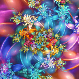 Synth Curl by Peggi Wolfe - Illustration Abstract & Patterns ( abstract, wolfepaw, gift, unique, bright, curl, illustration, spiral, fun, digital, print, décor, pattern, color, synth, unusual, fractal, rainbow )