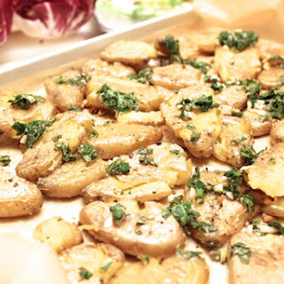 Roasted Smashed Fingerling Potatoes with Mint-Parsley Gremolata.