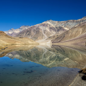 Mirorred Mornings...Chandratal by Rohit Chawla - Landscapes Waterscapes ( chandratal, reflection, nature, spiti valley, cosurvivor, lake, india, landscape, himalayas, himachal, water body, high altitude lake )