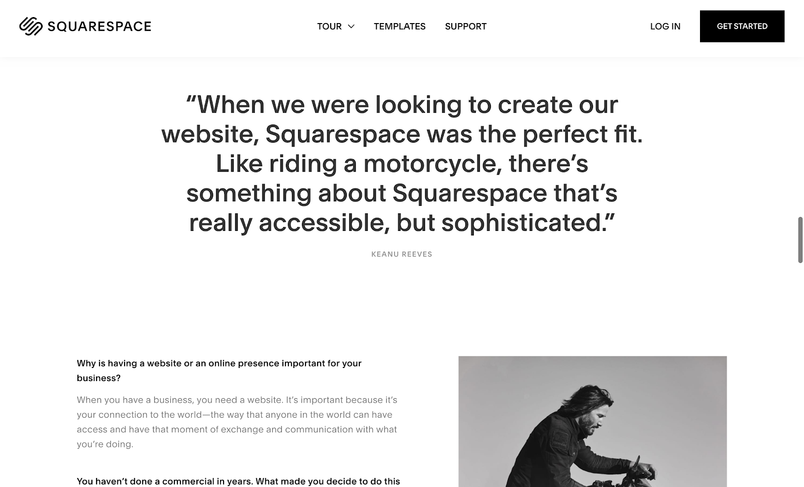 squarespace customer testimonials.