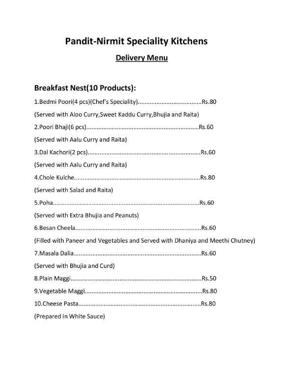 Pandit Nirmit Speciality Kitchens menu 1